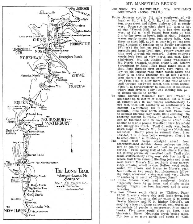 map and trail description from 1917 guidebook
