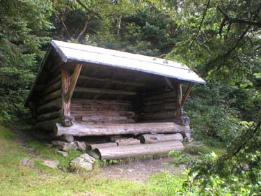 log lean to camping shelter